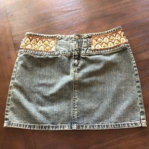 Express Denim Jean Beaded Mini Skirt
